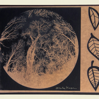 Trees in Moon with Leaves - Cyanotype Print - Bronze