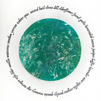 Unique Monoprint A-Z Herbs Aqua Green