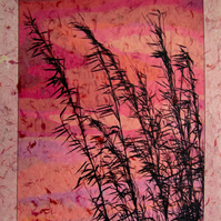 Sunset Bamboo Art Photograph on Textured Paper