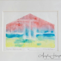 Pastel Greenhouse Original Woodcut Japanese Inspired Print
