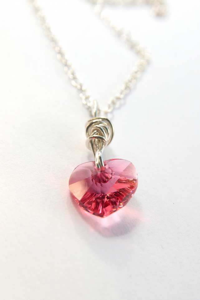 Sterling silver indian pink heart necklace