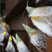 20 Cobweb edged Nuno felted Fairy Lights - with green Liberty print silk chiffon