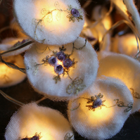 20 Floral Lace and Wool Nuno felted Fairy Lights
