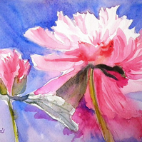 Original watercolour pink floral peony painting SFA small format art