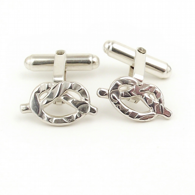 Textured silver knot cufflinks, wedding jewellery, arty, handmade, simple, fun