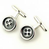 Oxidised sterling silver button cufflinks