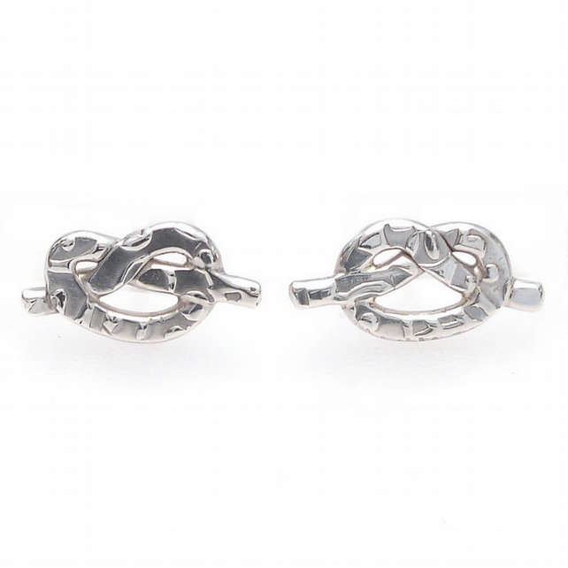 Textured silver knot ear studs, wedding jewellery, arty, handmade, simple, fun