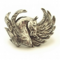 Horse brooch, Pegasus brooch, winged horse brooch, silver, mythical, sculpture