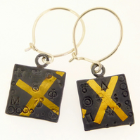 Square earrings, oxidised earrings, keum boo earrings, cross earrings, handmade