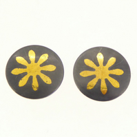 Flower ear studs, flower earrings, daisy earrings, black and gold earrings, fun.