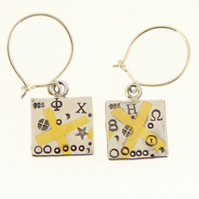 Square earrings, Keum boo earrings, abstract earrings, cross earrings, handmade