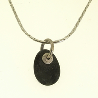 Pebble pendant, pebble necklace, pebble jewellery, natural stone, nautical, arty