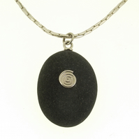 Pebble pendant, pebble necklace, pebble jewellery, nautical jewellery, modern