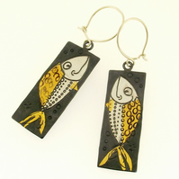 Fish earrings, animal earrings, rectangular earrings, artistic earrings.