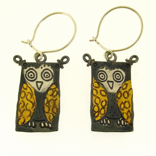 Owl Earrings, bird earrings, animal earrings, gold and silver earrings, creative