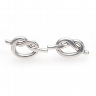 Smooth silver knot ear studs, wedding jewellery, arty, handmade, simple, fun