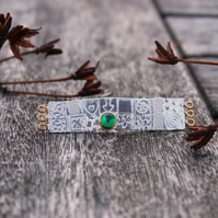 Long brooch, gemstone brooch, embossed brooch, silver brooch, green stone