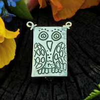 Owl brooch, silver brooch, owl pin, hallmarked, bird brooch, animal brooch