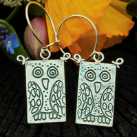 Owl earrings, silver owl earrings, drop earrings, bird earrings