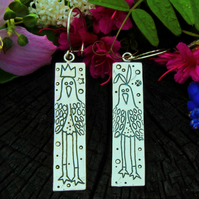 Big bird earrings, bird earrings, long legged bird earrings