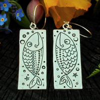 Fish earrings, goldfish, long silver earrings, hallmarked, animal earrings