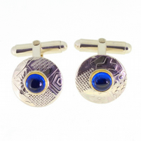 Silver cufflinks, round, blue stone, blue spinel, embossed patterned