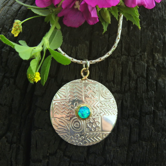 Opal pendant, large round sterling silver pendant necklace, silver chain
