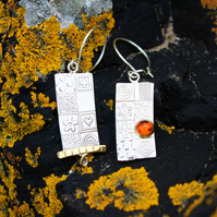 Amber earrings, handmade sterling silver earrings, asymmetrical gemstone