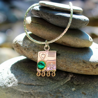 Silver pendant, green spinel necklace, square silver pendant, silver chain