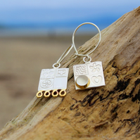 Moonstone earrings, square, asymmetrical, sterling silver drop earrings