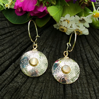 Moonstone earrings, round, silver, white moonstone, drop, dangle earrings