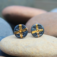 Small ear studs, silver and gold, Keum boo, oxidised with gold cross, round stud