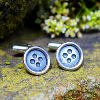 Silver cufflinks, button cufflinks, buttons, round, handmade, men's gift