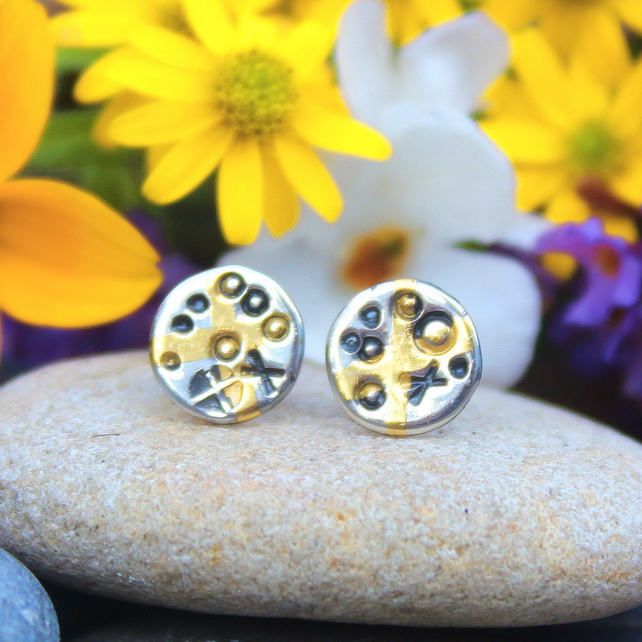 Keum boo ear studs, 24 ct. gold, silver ear studs, tiny, small round, handmade