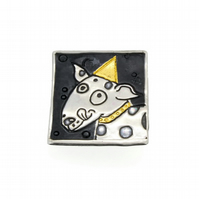 Dog brooch, Keum boo brooch, gift for dog lovers, spotty dog, puppy, canine