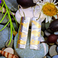 Keum boo earrings, small razor shell, silver and gold, drop, seaside, shells