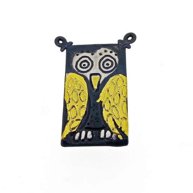 Owl brooch, pin, silver brooch, bird brooch, silver and gold brooch, Keum boo