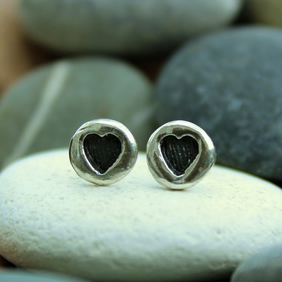 Heart ear studs, small ear studs, love, hearts, handmade, sterling silver, cute