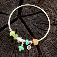 Turquoise bangle, sterling silver handmade bangle, wooden bead, rock crystal