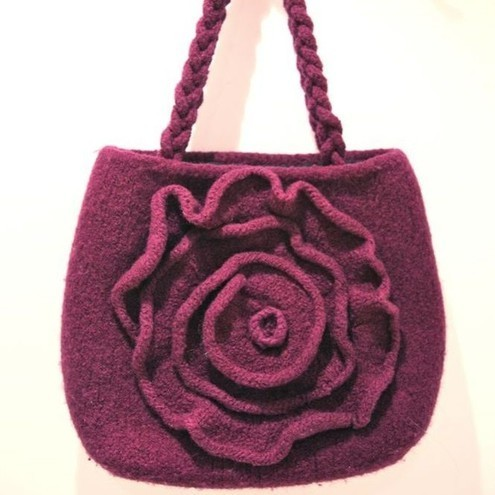 Knitting Pattern Felted Bag : Knitting Pattern for Purple Felted Rose Bag - Folksy