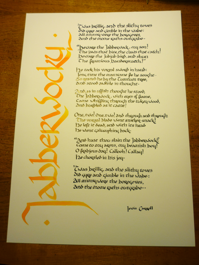 "Jabberwocky - original calligraphy of the Lewis Carroll poem, 10"" x 14"""
