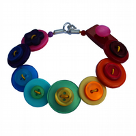 Rainbow Bright Button Bracelet