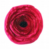 Large Deep Pink Fabric Poppy Corsage