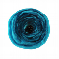 Large Turquoise Poppy Fabric Flower Corsage