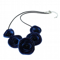 Royal Blue Fabric Poppy Necklace