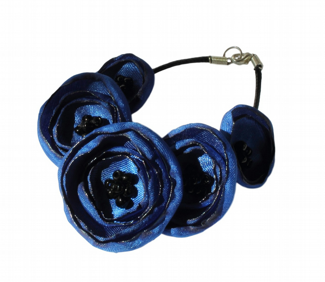 Royal Blue Fabric Poppy Bracelet