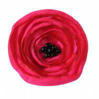 Small Deep Pink Fabric Poppy Corsage