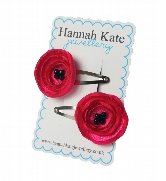 2 x Deep Pink Poppy Hair Clips
