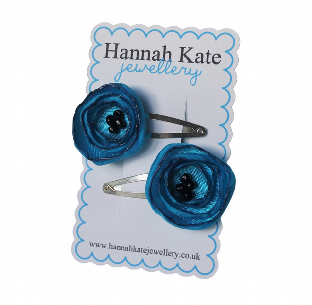 2 x Turquoise Poppy Hair Clips