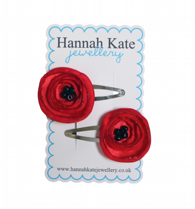 2 x Red Poppy Hair Clips
